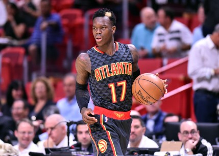 Feb 1, 2017; Miami, FL, USA; Atlanta Hawks guard Dennis Schroder (17) dribbles the ball up court against the Miami Heat during the first half at American Airlines Arena. Miami Heat won 116-93. Mandatory Credit: Steve Mitchell-USA TODAY Sports
