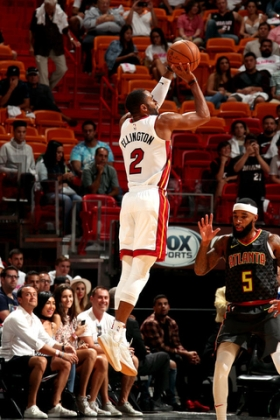 MIAMI, FL - OCTOBER 1: Wayne Ellington #2 of the Miami Heat shoots the ball during the preseason game against the Atlanta Hawks on October 1, 2017 at American Airlines Arena in Miami, Florida. NOTE TO USER: User expressly acknowledges and agrees that, by downloading and or using this Photograph, user is consenting to the terms and conditions of the Getty Images License Agreement. Mandatory Copyright Notice: Copyright 2017 NBAE (Photo by Issac Baldizon/NBAE via Getty Images)