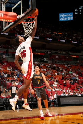 MIAMI, FL - OCTOBER 1: James Johnson #16 of the Miami Heat goes for the lay up during the preseason game against the Atlanta Hawks on October 1, 2017 at American Airlines Arena in Miami, Florida. NOTE TO USER: User expressly acknowledges and agrees that, by downloading and or using this Photograph, user is consenting to the terms and conditions of the Getty Images License Agreement. Mandatory Copyright Notice: Copyright 2017 NBAE (Photo by Issac Baldizon/NBAE via Getty Images)