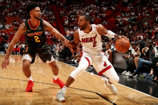 MIAMI, FL - OCTOBER 1: Wayne Ellington #2 of the Miami Heat handles the ball during the preseason game against the Atlanta Hawks on October 1, 2017 at American Airlines Arena in Miami, Florida. NOTE TO USER: User expressly acknowledges and agrees that, by downloading and or using this Photograph, user is consenting to the terms and conditions of the Getty Images License Agreement. Mandatory Copyright Notice: Copyright 2017 NBAE (Photo by Issac Baldizon/NBAE via Getty Images)
